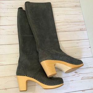 Hasbeens grey clog knee-high boots